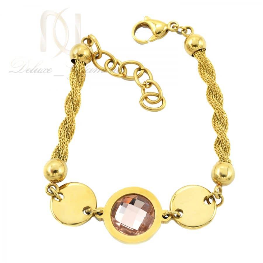 دستبند استیل 1   دستبند زنجیری زنانه استیل طرح طلا با قفل خرچنگی pr-b136