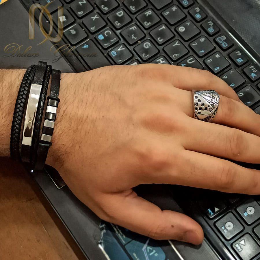 ست مردانه 1 1   ست دستبند و انگشتر مردانه اسپرت ns-n690