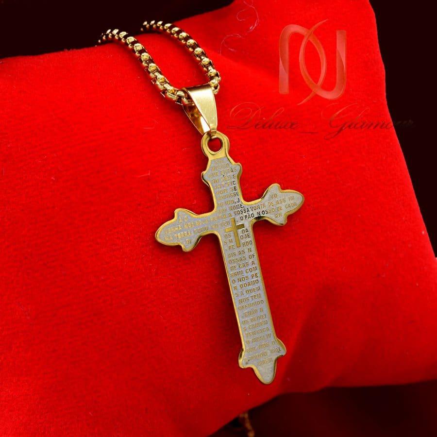 گردنبند صلیب 2 | گردنبند پسرانه صلیب استیل طلایی nw-n727
