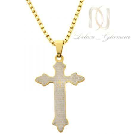 گردنبند پسرانه صلیب استیل طلایی nw-n727