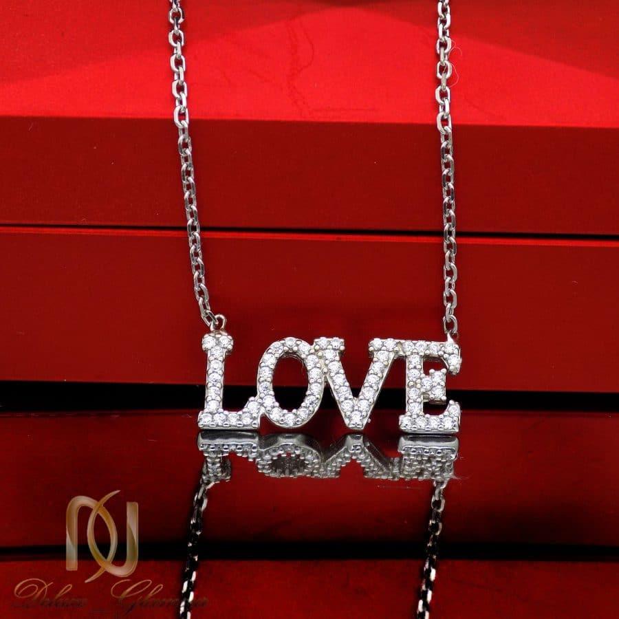 گردنبند نقره دخترانه LOVE نگین دار MA N541 2 | گردنبند نقره دخترانه LOVE نگین دار MA-N541