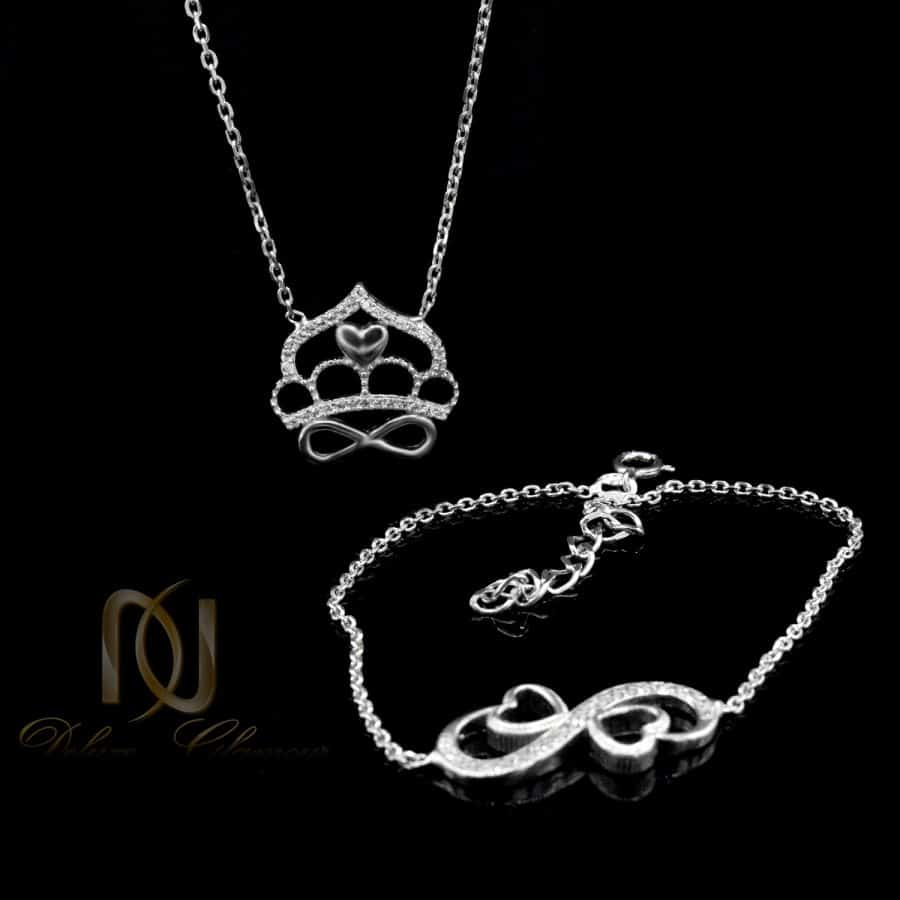 ست دستبند و گردنبند 1   ست دستبند و گردنبند نقره 925 تاج و بی نهایت ns-n693