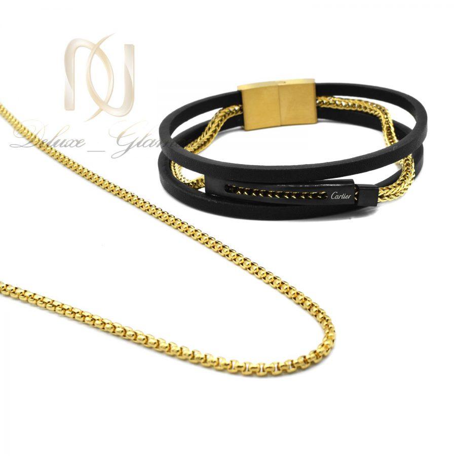 ست مردانه 1   ست دستبند و گردنبند مردانه فشن جدید ns-n695