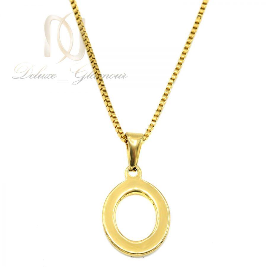 گردنبند حرف استیل   گردنبند حرف O استیل طلایی Nw-n751