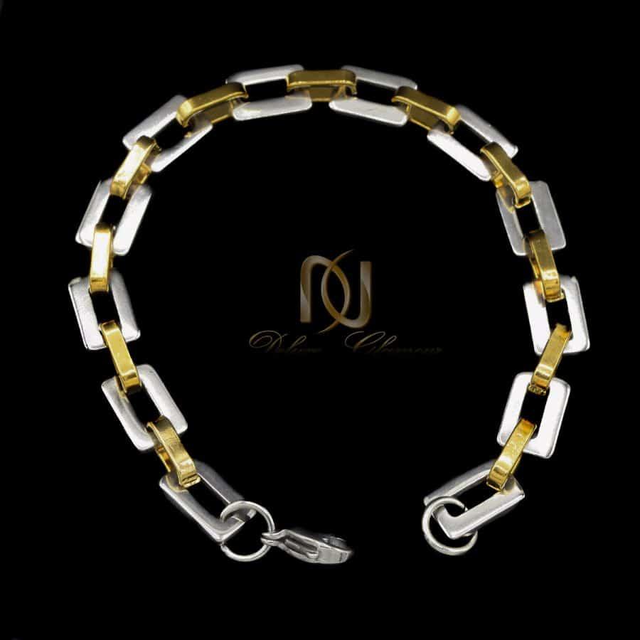 دستبند مردانه استیل دو رنگ آجری ds-n795