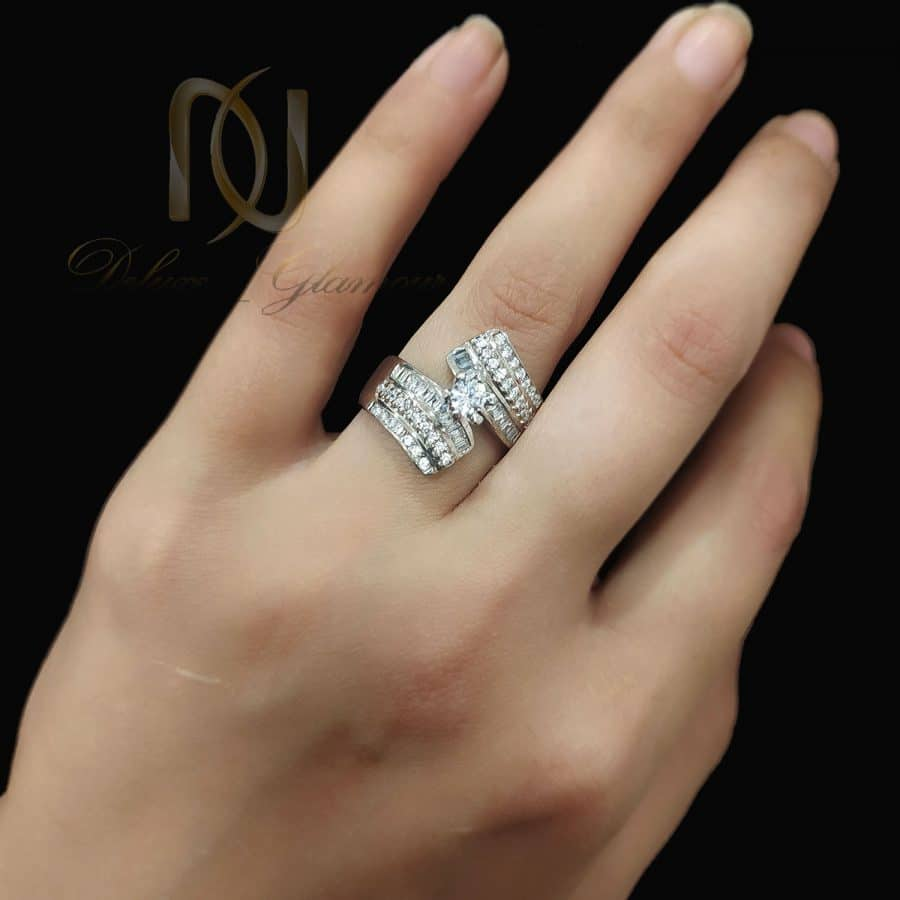 انگشتر زنانه نقره 925 طرح طلا سفید rg-n669