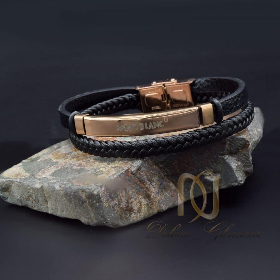 دستبند MONTBLANC مردانه رزگلد چرم DS-N811
