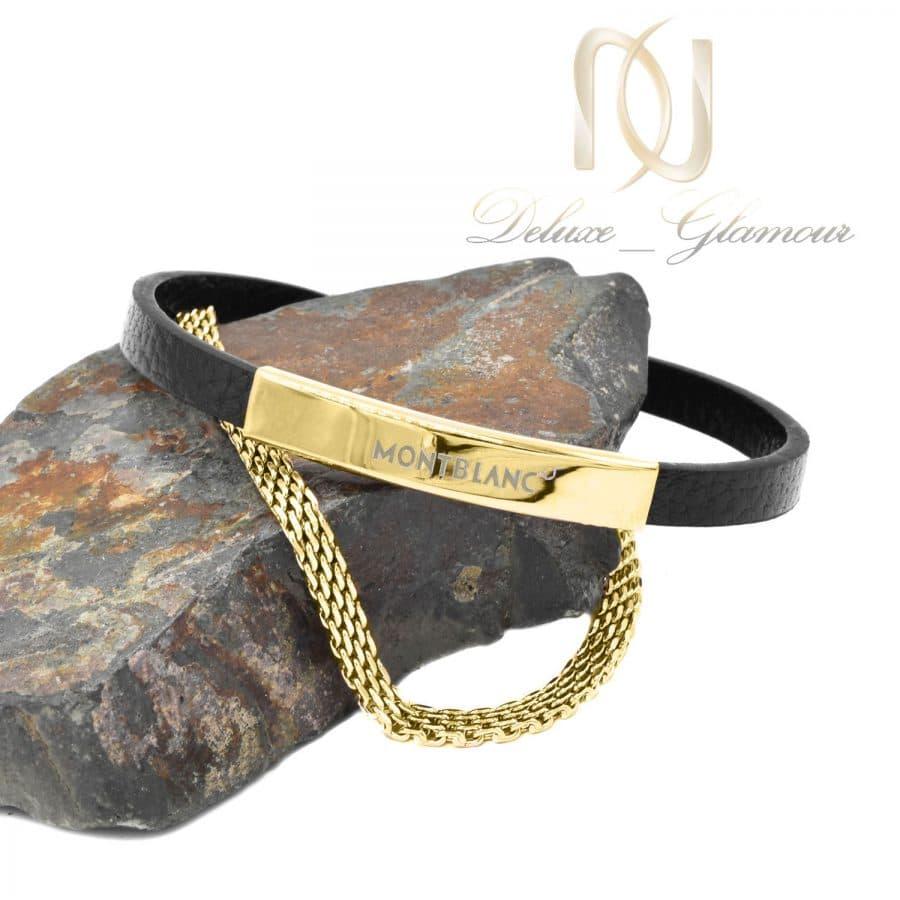 دستبند چرم مردانه مونت بلانک طلایی ds-n821