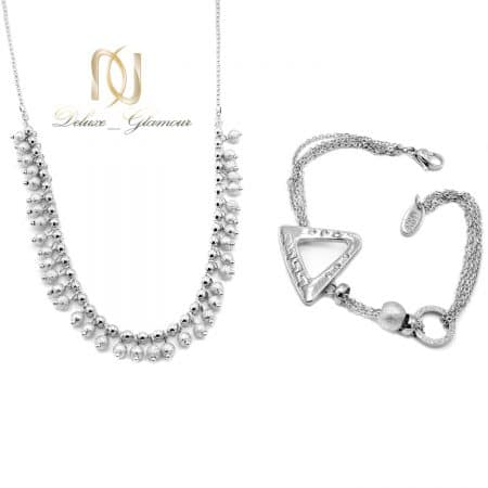 ست گردنبند و دستبند زنانه نقره ای تراش ns-n801