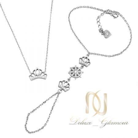 ست دستبند و گردنبند نقره دخترانه ns-n702
