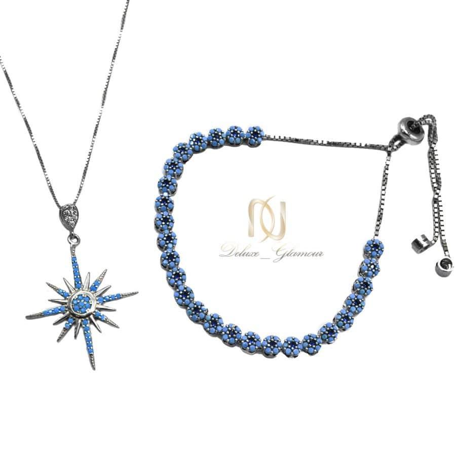 ست دستبند و گردنبند نقره فانتزی دخترانه ns-n703