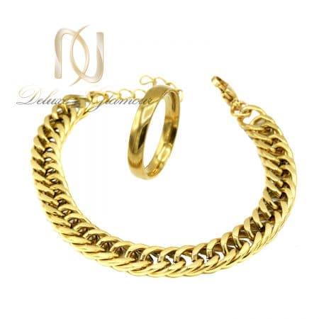 ست دستبند و انگشتر مردانه استیل طلایی ns-n812