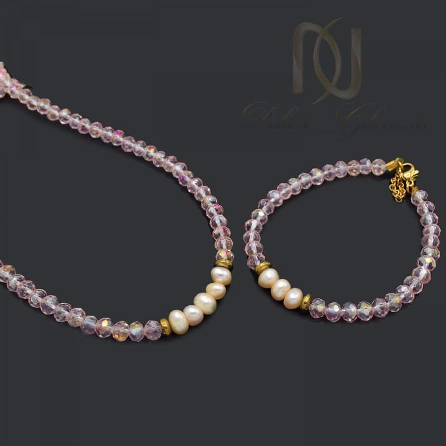 ست دستبند و گردنبند دخترانه کریستالی صورتی za n706 2   ست دستبند و گردنبند دخترانه کریستالی صورتی za-n706