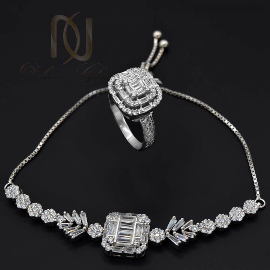 ست دستبند و انگشتر 3 | ست دستبند و انگشتر زنانه نقره اصل ns-n813