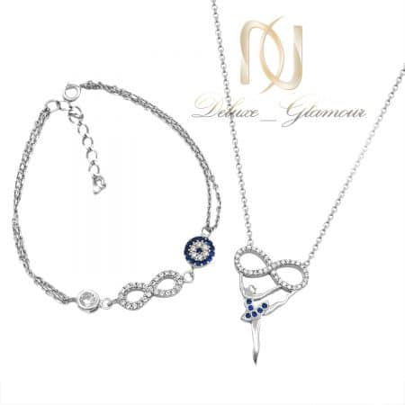 ست دستبند و گردنبند نقره دخترانه ns-n814