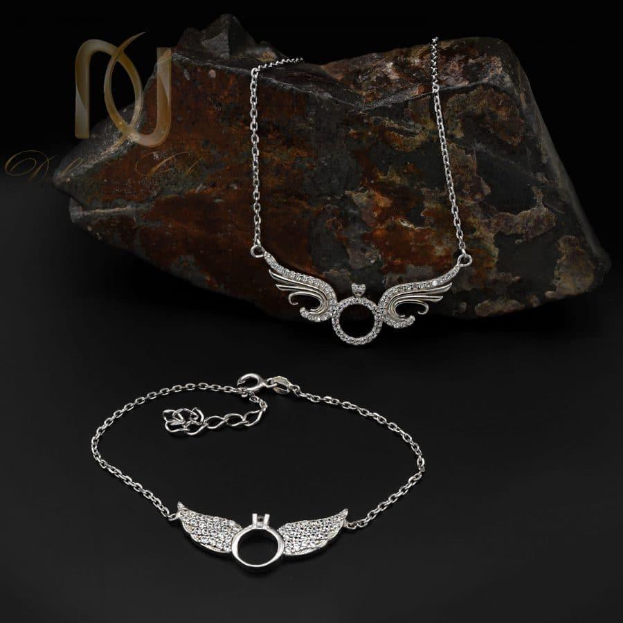 DSC 1598   ست دستبند و گردنبند دخترانه نقره طرح خاص ns-n833