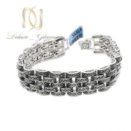 دستبند زنانه سیاه قلم نقره طرح رولکس ds-n844