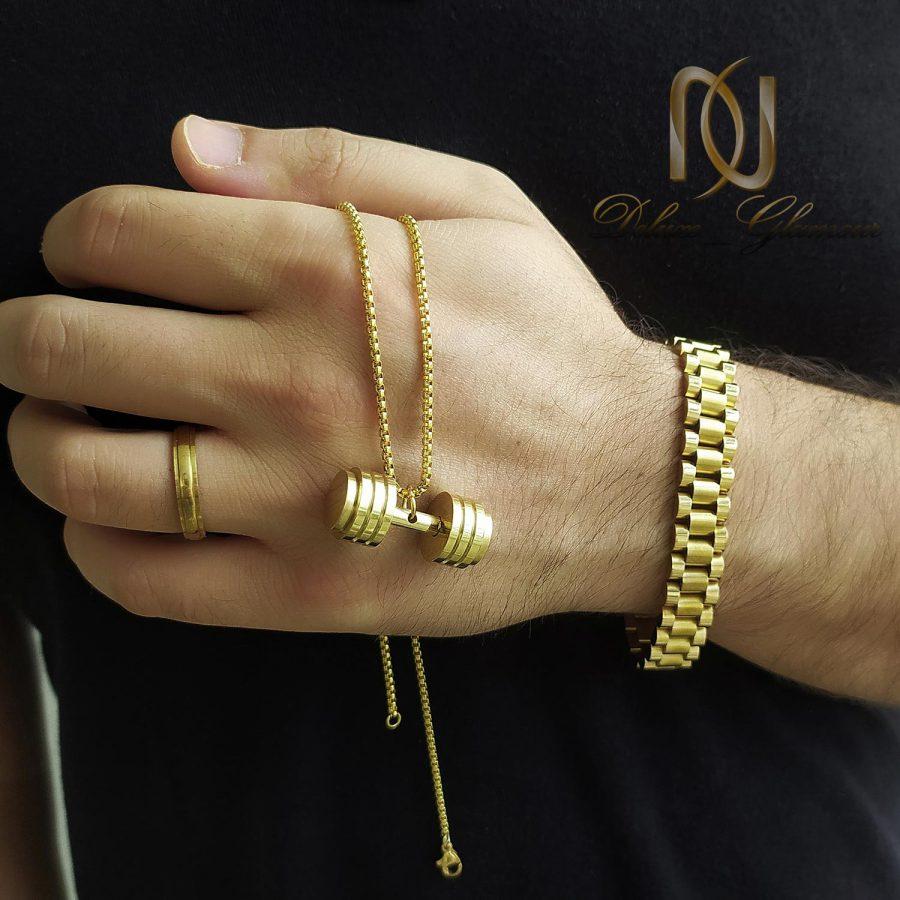 ست زیورآلات مردانه استیل طلایی ns-n820