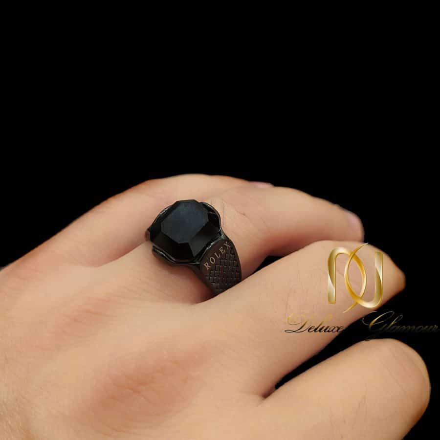 انگشتر مردانه استیل مشکی طرح رولکس rg-n738