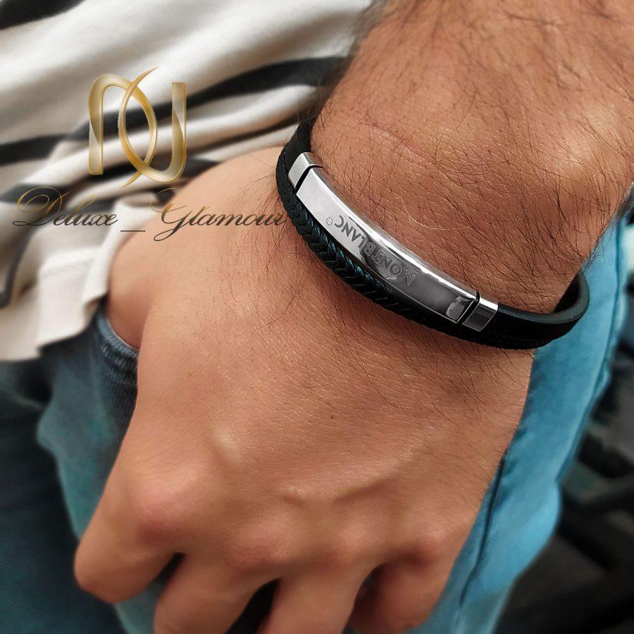 دستبند چرم مردانه 1 | دستبند چرم مونت بلانک دو ردیفه اسپرت ds-n851