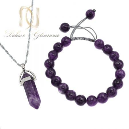 ست دستبند و گردنبند سنگ آمتیست اصل za-n708