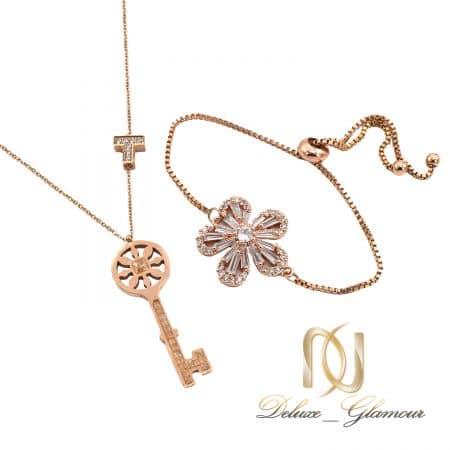 ست دستبند و گردنبند رزگلد استیل دخترانه ns-n841
