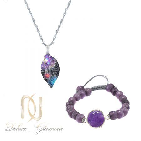 ست دستبند و گردنبند سنگی دخترانه ns-n844
