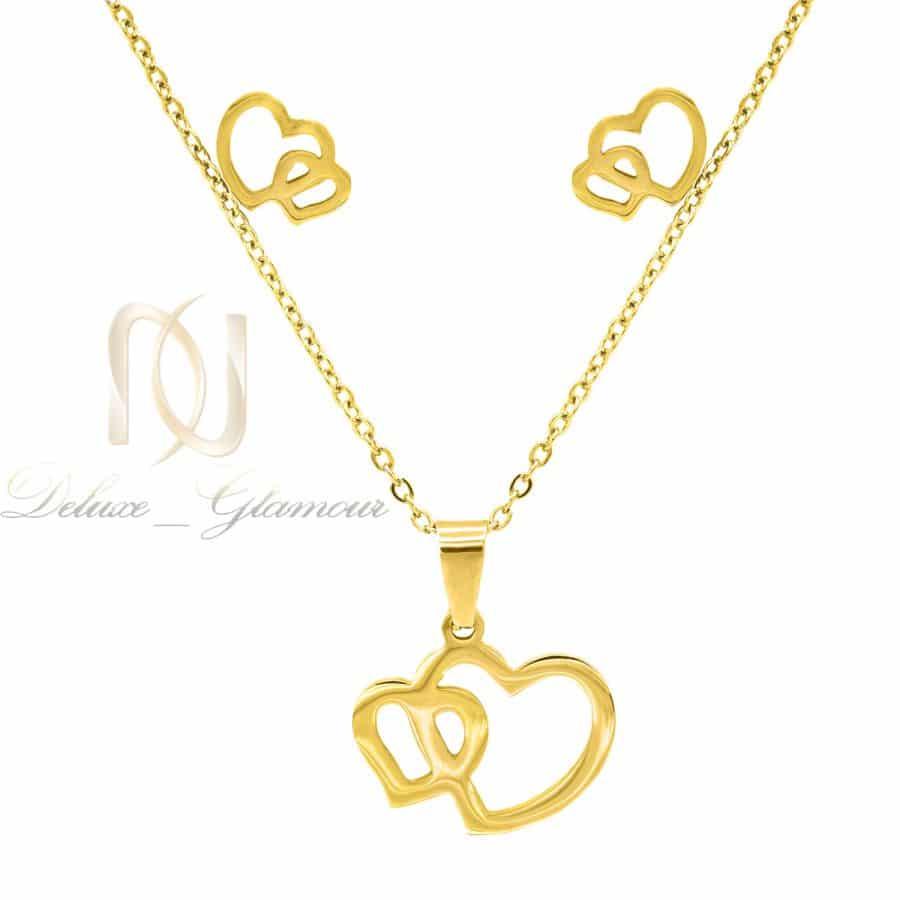 ست استیل دخترانه طلایی طرح قلب ns-n839