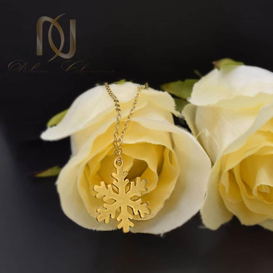 گردنبند استیل طرح برف طلایی 1 | گردنبند استیل طرح برف دخترانه طلایی NW-N790
