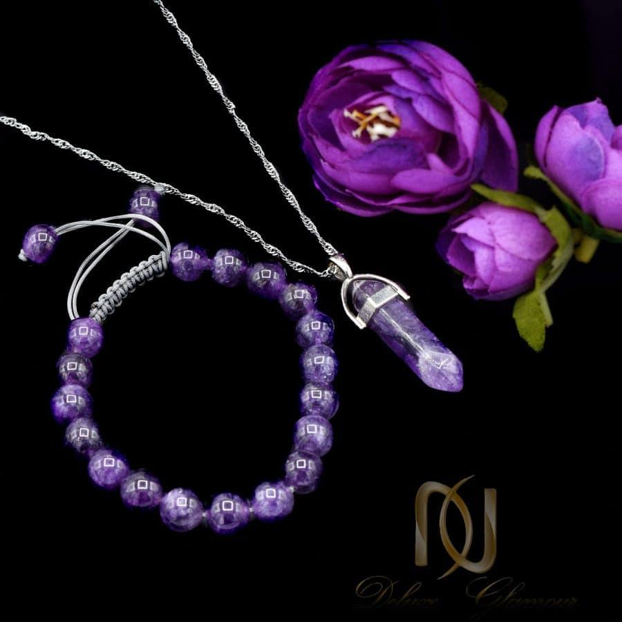 DSC 1660 | ست دستبند و گردنبند سنگ آمتیست اصل za-n708