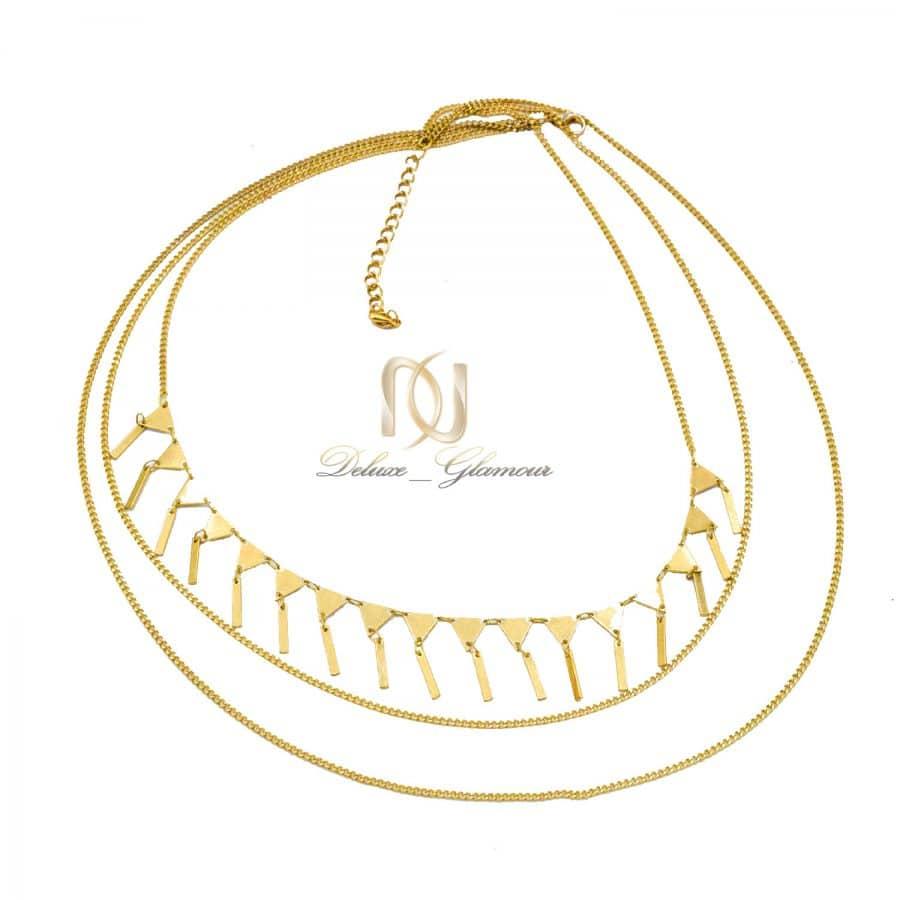 گردنبند سه ردیفه زنانه استیل طرح طلا nw-n793