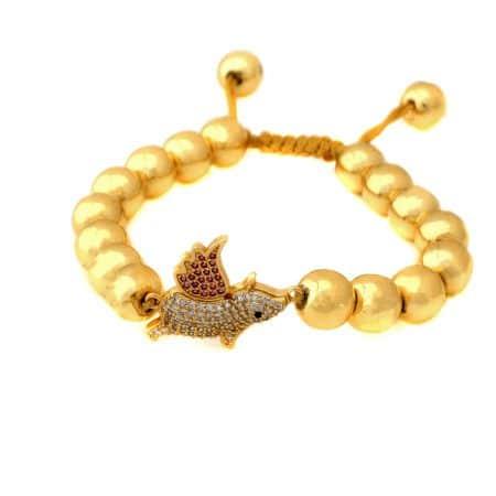 دستبند دخترانه دستساز سنگ حدید ma-n602