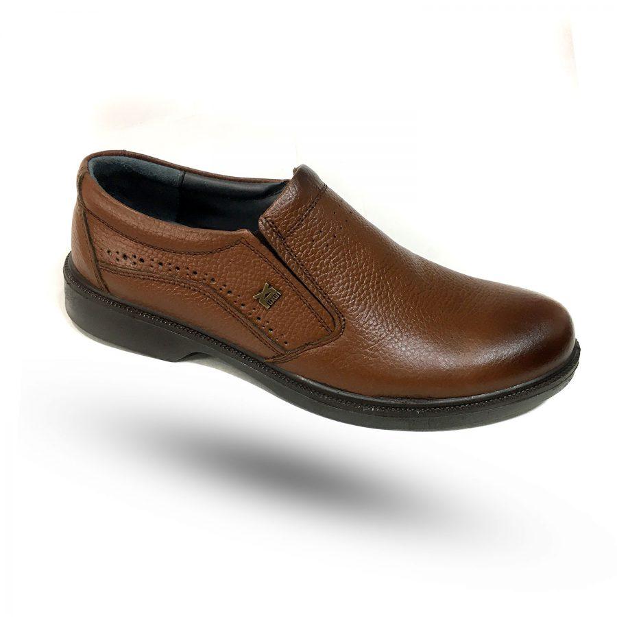 کفش مردانه چرم اصل عسلی طرح لاکچری sh-n248