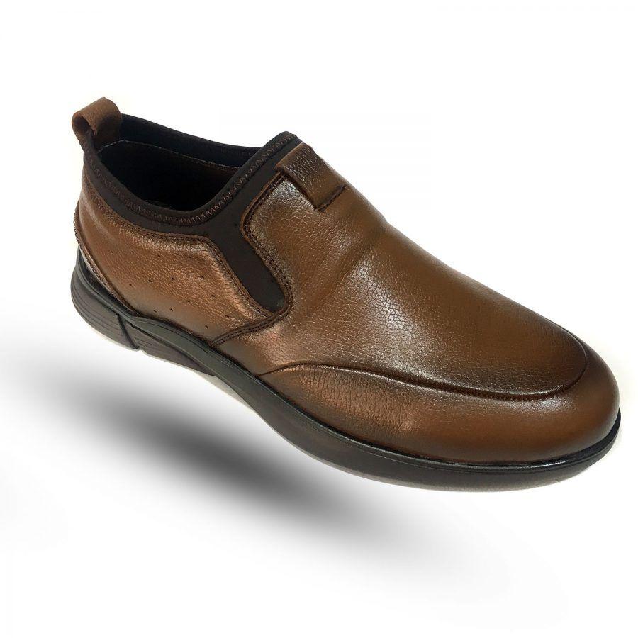 کفش مردانه چرم قهوه ای راحتی sh n249   کفش مردانه چرم قهوه ای راحتی sh-n249