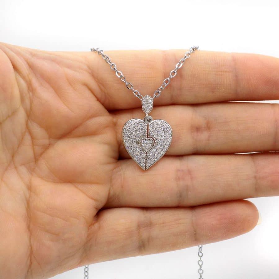 گردنبند دخترانه نقره دوتیکه قلب ma-n588
